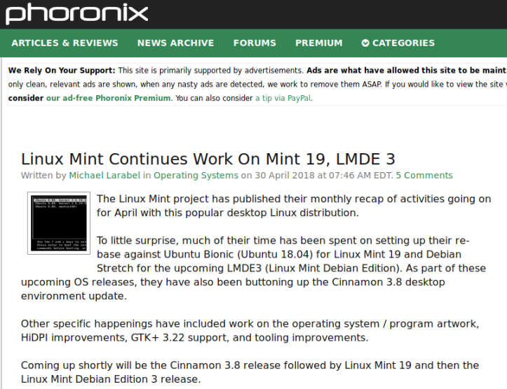 Linux Mint 19 – Some Factoids – Thar She Blows!